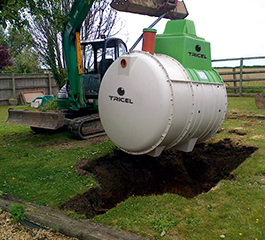 Installation of a Tricel Novo sewage treatment plant